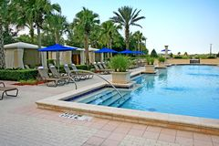The landscape and swimming pool in a resort Royalty Free Stock Image