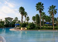The landscape and swimming pool in a resort Royalty Free Stock Photo
