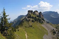 Landscape in the Swiss Alps. The mountain looked like a camel's hump Royalty Free Stock Photos