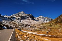 Landscape of the Swiss Alps and forest of national parc in Switzerland. Alps of Switzerland on autumn. Fluela pass road. . Swiss c. Anton of Graubunden Royalty Free Stock Photo