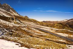 Landscape of the Swiss Alps and forest of national parc in Switzerland. Alps of Switzerland on autumn. Fluela pass road. . Swiss c Stock Photo