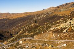 Landscape of the Swiss Alps and forest of national parc in Switzerland. Alps of Switzerland on autumn. Fluela pass road. . Swiss c Stock Images