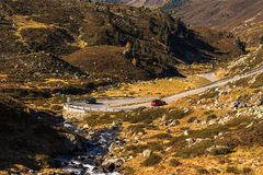 Landscape of the Swiss Alps and forest of national parc in Switzerland. Alps of Switzerland on autumn. Fluela pass road. . Swiss c Stock Photography