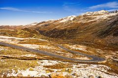 Landscape of the Swiss Alps and forest of national parc in Switzerland. Alps of Switzerland on autumn. Fluela pass road. . Swiss c Royalty Free Stock Photos