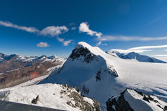 Landscape of swiss Alps and mount Breithorn, Canton of Valais Stock Image