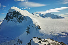 Landscape of swiss Alps and mount Breithorn, Canton of Valais, Switzerland  Royalty Free Stock Photos