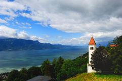 Landscape switzerland. The church in the Switzerland,beside Geneva lake royalty free stock image