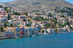 Landscape of Symi town and lagoon Stock Image