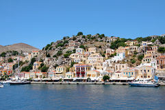 Landscape of Symi town and lagoon Royalty Free Stock Photography