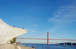 Landscape of the Tagus River with 25 abril bridge Royalty Free Stock Photos