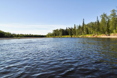 Landscape of the taiga river. Stock Photo