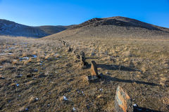 Row of ancient stones in Tamgaly Stock Images