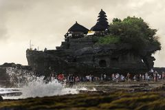 Landscape with Tanah lot temple. Royalty Free Stock Images
