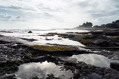 Landscape with Tanah lot temple. Royalty Free Stock Photography