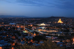 Landscape of Tbilisi city from Mtatsminda hill Stock Photos