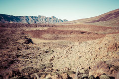Landscape in Teide National Park, Canary Island Tenerife, Spain Royalty Free Stock Photo
