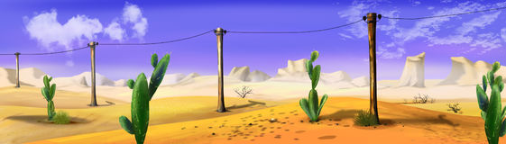 Landscape with telegraph-pole in a wild west desert. Panorama view. Royalty Free Stock Photo