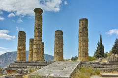 Landscape with The Temple of Apollo in Ancient Greek archaeological site of Delphi, Greece Royalty Free Stock Photo