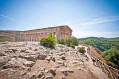 Landscape with temple in Segesta Royalty Free Stock Image