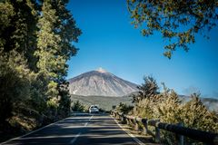 Landscape of Tenerife. Streets of Tenerife - national park Stock Photo