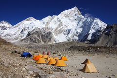 Landscape with the tents in the Gorak Shep Royalty Free Stock Image