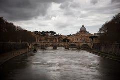 Tevere river in Rome. Landscape of Tevere river in Rome royalty free stock photos