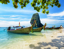 Thai boats on Phra Nang beach Royalty Free Stock Photography