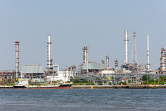 Landscape of Thai Refinery industrial plant from opposite's side of Chao Phra Ya river Royalty Free Stock Photography