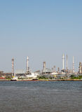 Landscape of Thai Refinery industrial plant from opposite's side of Chao Phra Ya river Stock Images