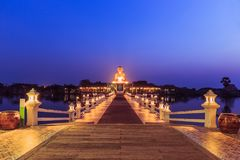 Landscape of Thai temples at hour twilight. Bueatyful landscape of Thai temples at hour twilight Royalty Free Stock Photo