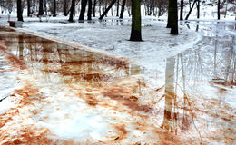 Landscape. Thaw. The intersection of two paths in the gardens. Stock Images