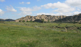 Landscape, Theo. Roosevelt NP. Banded hills and grasslands in Theodore Roosevelt National Park, North Dakota stock images