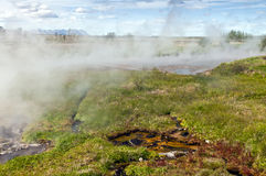 Landscape with thermal spring, Iceland Stock Photos