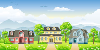 Landscape with three houses Royalty Free Stock Image