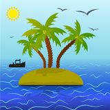 Landscape of three palm trees on an island, around a blue sea, t stock illustration