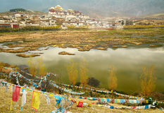 Landscape with tibetan monastery and lake Royalty Free Stock Photos