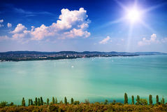 Landscape from Tihany to Lake Balaton Stock Images