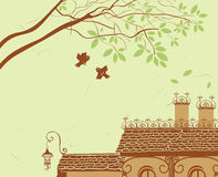 Landscape with tiled roof Royalty Free Stock Images