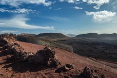 Landscape of Timanfaya National Park in Lanzarote, Canary Islands, Spain. Volcanic mountains royalty free stock image