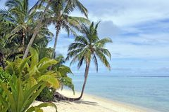 Landscape Titikaveka beach Rarotonga Cook Islands royalty free stock photography