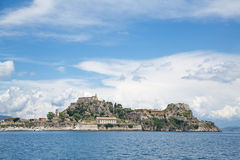 Landscape to the old and new fortress of corfu islands. Royalty Free Stock Photos