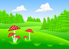 Landscape with toadstools Royalty Free Stock Photos