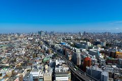 Skyline in Setagaya-ku, Tokyo, Japan. Landscape Of Tokyo City Center. can see Tokyo skytree and Tokyo tower together stock photos