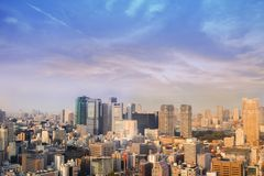 Landscape of tokyo city skyline in Aerial view with skyscraper, royalty free stock photography