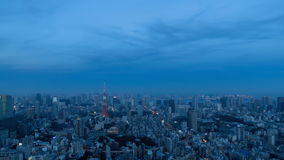 Landscape of Tokyo that will be night from evening. Time lapse movie that shot the landscape of Tokyo that will be night from evening stock video