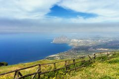 Landscape from the Top of Erice in Sicily, Italy. View of the Mediterranean sea from  the Norman Castle in Erice in Sicily, Italy stock photo