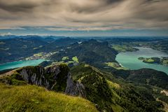 Landscape on the top of the hiking trail to the Schafberg and view of landscape over the Wolfgangsee and Mondsee stock photo