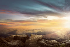 Landscape on the top of the hill looking wonderful scenery. In mountains during sunset Royalty Free Stock Photos
