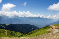 Landscape from the top of the mountain cable car Aibga Rosa Khutor Royalty Free Stock Photography