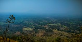landscape of top view from mountain with horizon stock image